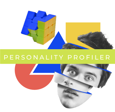 Personality profiler banner icon (Dark grey background)